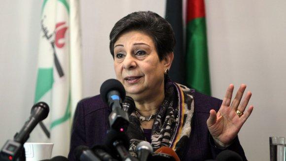 Hanane Achraoui ici le 28 novembre 2012 à Ramallah fustige le recul américain sur la solution entre deux Etats séparés entre Palestiniens et Israéliens